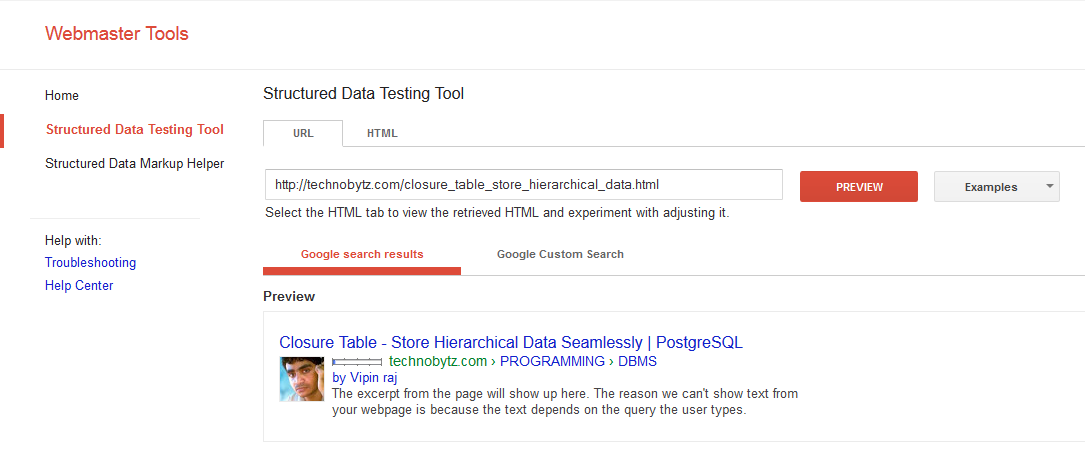 google structured data testing tool - testing for breadcrumb microdata