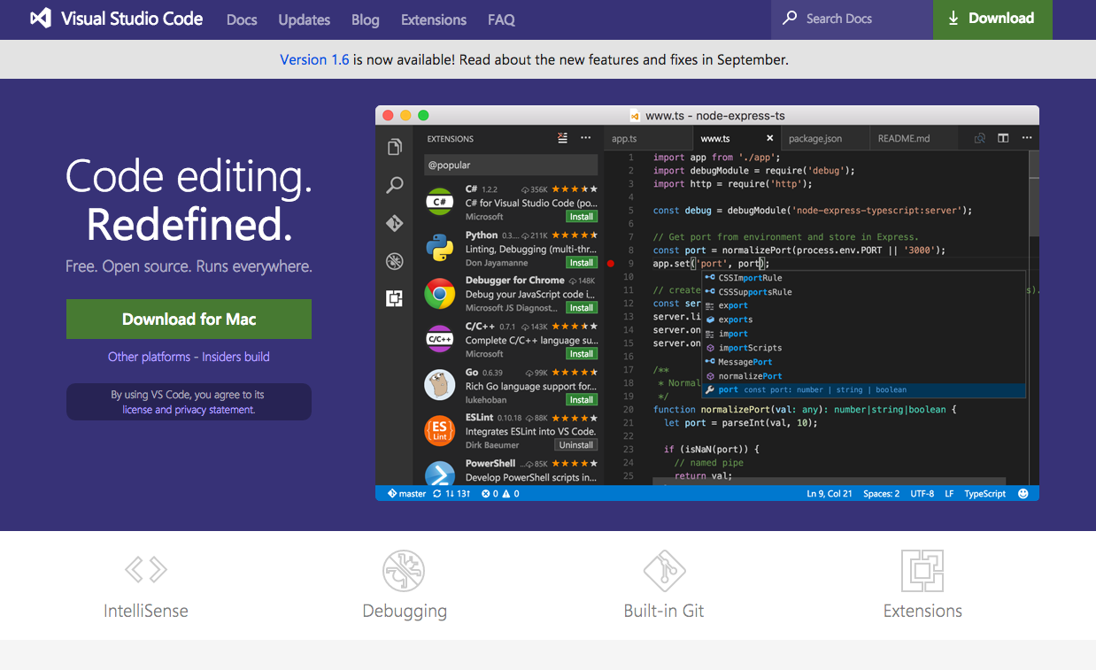 Visual studio code | Angular 2 developer tools