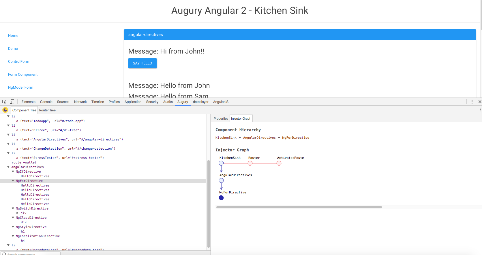 Augury Component tree | Angular 2 developer tools