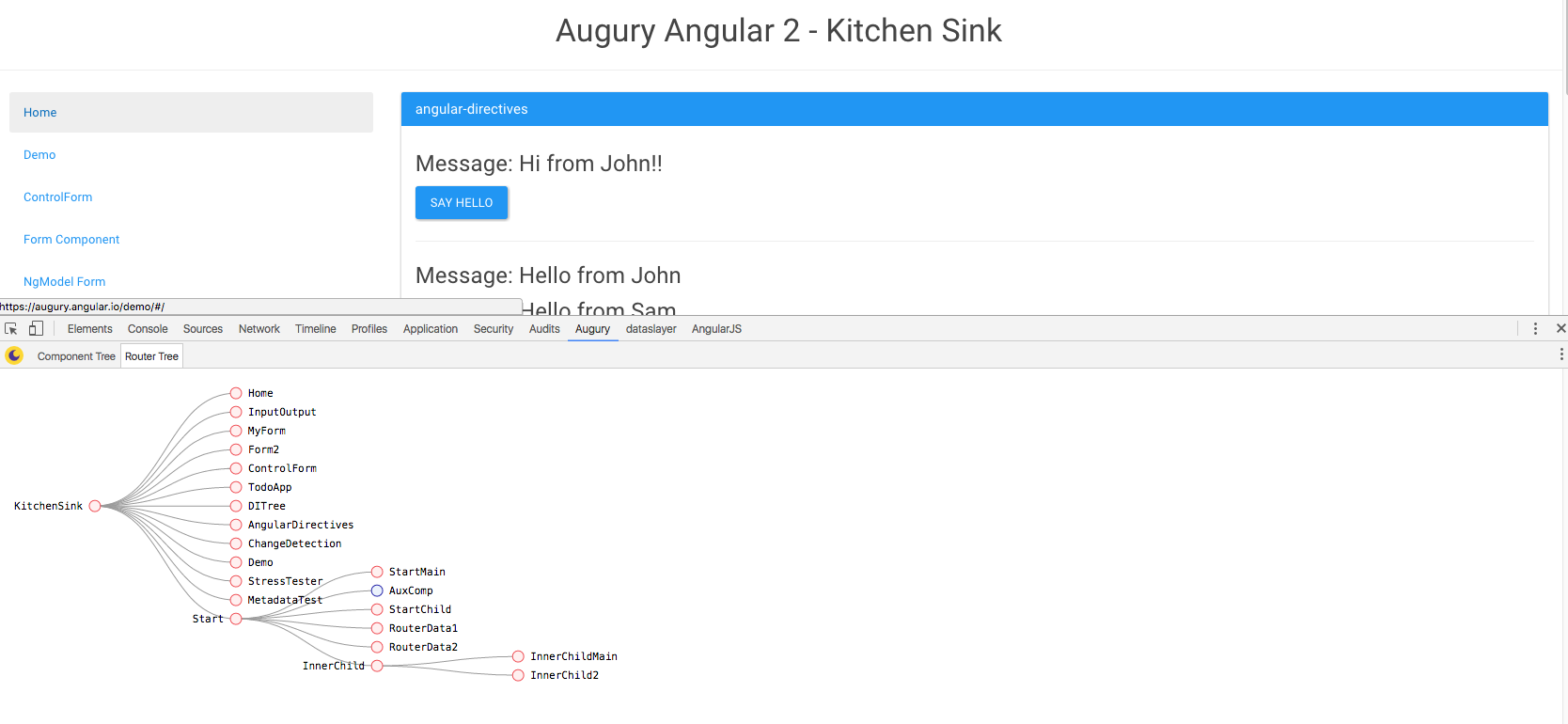 Augury Router tree | Angular 2 developer tools